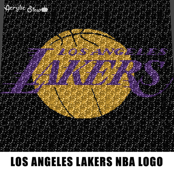 Los Angeles Lakers NBA Team Logo LA Lakers American Professional Basketball Team crochet graphgan blanket pattern; c2c; single crochet; cross stitch; graph; pdf download; instant download