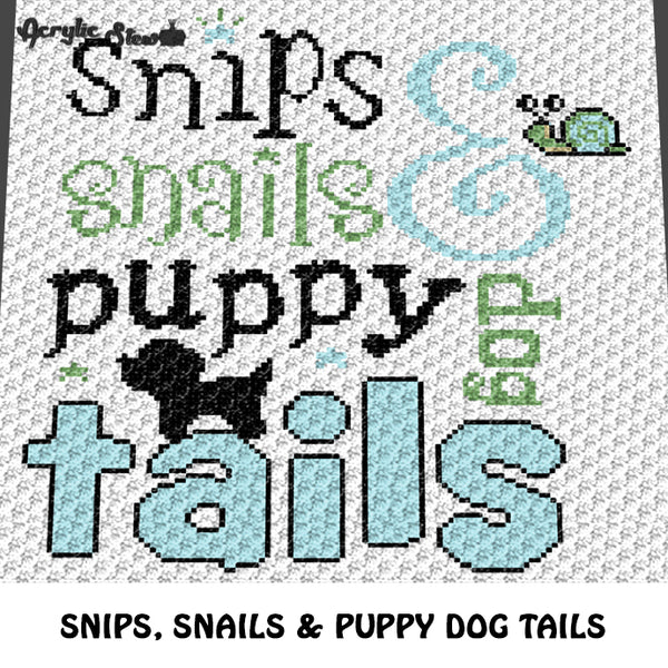 Snips Snails and Puppy Dog Tails Boy crochet graphgan blanket pattern; c2c, knitting, cross stitch graph; pdf download; instant download