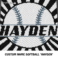 Custom Personalized Name Monogram Softball 'Hayden' crochet graphgan blanket pattern; graphgan pattern, c2c, cross stitch graph; pdf download; instant download