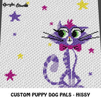 Hissy Puppy Dog Pals Cartoon Character Cat Kitten Stars crochet blanket pattern; graphgan pattern, c2c, cross stitch graph; pdf download; instant download