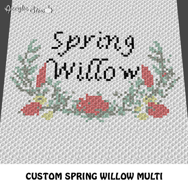 Custom Spring Willow Floral Multi-Color crochet cushion pattern; c2c, cross stitch graph; instant download