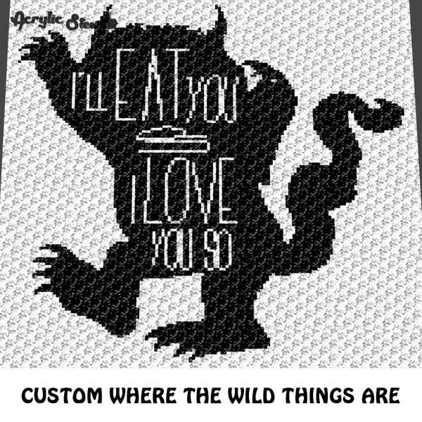 Custom Where the Wild Things Are Alpha Art crochet graphgan blanket pattern; c2c, cross stitch graph; pdf download; instant download