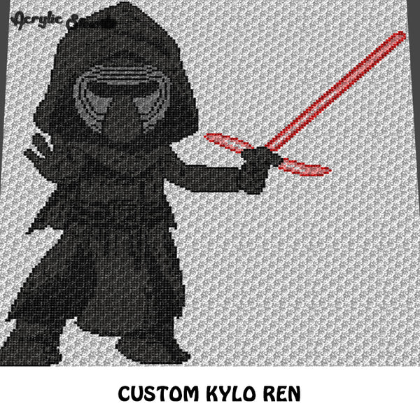 Custom Kylo Ren Star Wars Villain Character crochet graphgan cushion pattern; c2c, cross stitch graph; instant download