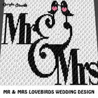 Mr and Mrs Love Birds Wedding and Anniversary crochet graphgan blanket pattern; c2c, cross stitch graph; pdf download; instant download