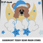 Goodnight Teddy Bear Moon and Stars crochet graphgan blanket pattern; graphgan pattern, c2c, cross stitch graph; pdf download; instant download