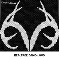 Realtree Antlers Camo Country Western C2C crochet graphgan blanket pattern; c2c, cross stitch graph; pdf download; instant download
