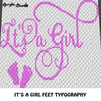 It's A Girl Pink Feet C2C, sc, TSS, crochet blanket pattern; afghan; graphgan pattern, cross stitch graph; pdf download; instant download