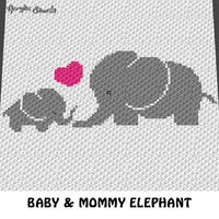 Baby Elephant and Mommy Heart  crochet graphgan blanket pattern; c2c, cross stitch graph; pdf download; instant download