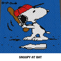 Snoopy Playing Baseball Peanuts Beagle Cartoon Character crochet graphgan blanket pattern; c2c, cross stitch graph; pdf download; instant download