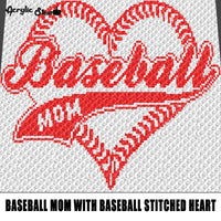 Baseball Mom with Stitched Baseball Heart Sports Quote Typography crochet graphgan blanket pattern; c2c; single crochet; cross stitch; graph; pdf download; instant download