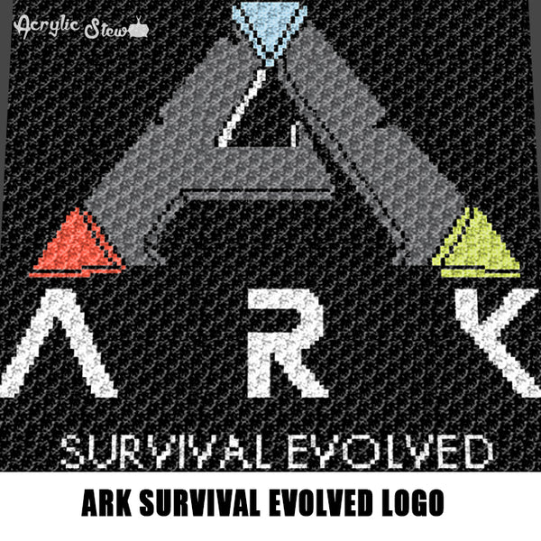ARK Survival Evolved Video Game Logo Symbol crochet graphgan blanket pattern; c2c, cross stitch graph; pdf download; instant download