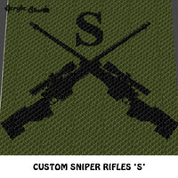 Custom Sniper Rifles with Times New Roman 'S' crochet blanket pattern; c2c, knitting, cross stitch graph; pdf download; instant download