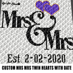 Custom Mrs and Mrs Twin Hearts with Personalized Est Date Wedding Anniversary crochet graphgan blanket pattern; c2c; single crochet; cross stitch; graph; pdf download; instant download