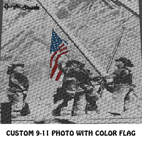 Custom 9-11 Iconic Photo with Color American Flag crochet blanket pattern; c2c, cross stitch graph; instant download