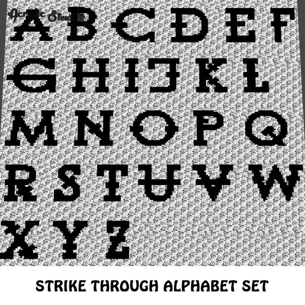 Strikethrough Letters Font A to Z Alphabet Set crochet graphgan blanket pattern; c2c, cross stitch graph; instant download