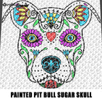 Painted Tattoo Pit Bull Dog Sugar Skull Color Art C2C crochet graphgan blanket pattern; afghan; graphgan pattern, cross stitch graph; pdf download; instant download