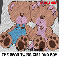Twin Boy and Girl Teddy Bears crochet blanket pattern; graphgan pattern, c2c, knitting, cross stitch graph; pdf download; instant download