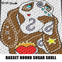 Painted Basset Hound Dog Sugar Skull Color Art C2C crochet graphgan blanket pattern; afghan; graphgan pattern, cross stitch graph; pdf download; instant download