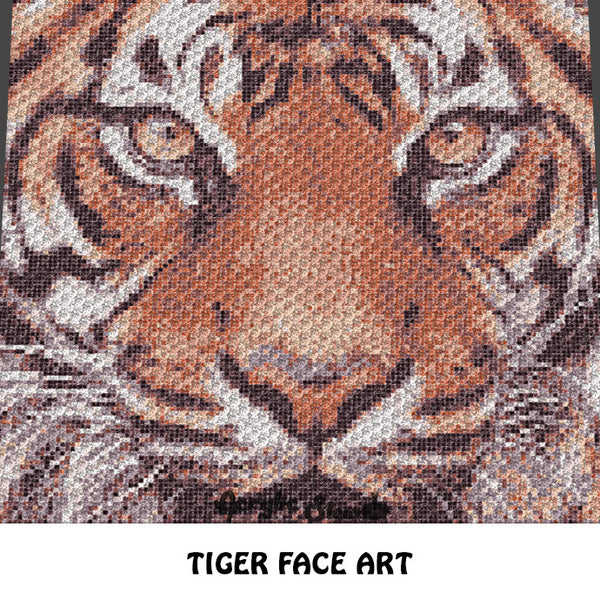 Tiger Face Photograph Tiger Picture Art crochet graphgan blanket pattern; graphgan pattern, c2c, knitting, cross stitch graph; pdf download; instant download