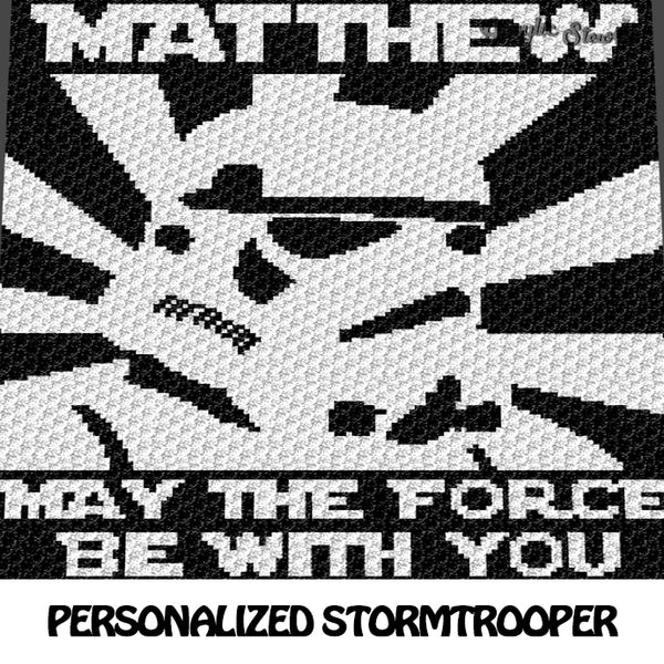 Custom Stormtrooper with Personalized Star Wars Name and Text crochet blanket pattern; c2c, cross stitch graph; instant download