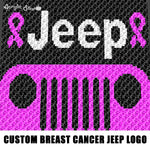 Custom Jeep Logo With Breast Cancer Ribbons Charity Donation Topless For TaTas crochet graphgan blanket pattern; c2c; single crochet; cross stitch; graph; pdf download; instant download