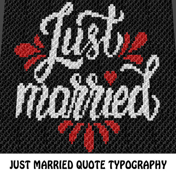 Just Married crochet blanket pattern; c2c, cross stitch graph; instant download