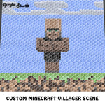 Custom Minecraft Villager Single Pixel Video Game Character and Landscape crochet graphgan blanket pattern; c2c, cross stitch graph; pdf download; instant download