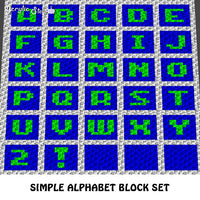 Block Letters Simple Beginner A to Z Alphabet Set crochet graphgan blanket pattern; c2c, cross stitch graph; instant download