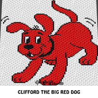 Custom Order Clifford the Big Red Dog crochet blanket pattern; c2c, cross stitch graph; pdf download; instant download