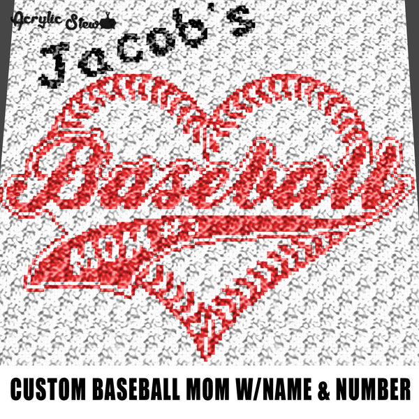 Custom Baseball Mom Baseball Heart With Personalized Name and Number crochet graphgan blanket pattern; c2c; single crochet; cross stitch; graph; pdf download; instant download