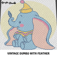 Vintage Baby Dumbo Disney Movie Character Circus Elephant crochet graphgan blanket pattern; graphgan pattern, c2c, knitting, cross stitch graph; pdf download; instant download
