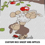 Nici White and Brown Sheep Picking Apples crochet blanket pattern; c2c, custom graphgan, cross stitch graph; pdf download; instant download