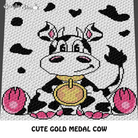 Adorable Gold Medal Cow with Pink Feet and Cow Spots Background crochet blanket pattern; c2c, cross stitch graph; instant download