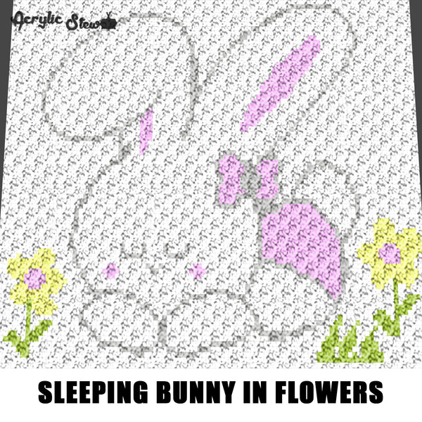 Sleeping White Bunny Rabbit In Flowers crochet graphgan blanket pattern; c2c, cross stitch graph; pdf download; instant download