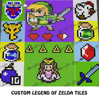Custom Legend of Zelda Characters and Icons Video Game crochet graphgan blanket pattern; c2c, cross stitch graph; pdf download; instant download