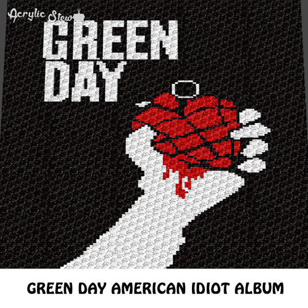 Green Day Alternative Rock N' Roll American Idiot Album Cover C2C crochet blanket pattern; afghan; graphgan pattern, cross stitch graph; pdf download; instant download