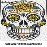Tattoo Rose and Flowers Sugar Skull Art C2C crochet graphgan blanket pattern; afghan; graphgan pattern, cross stitch graph; pdf download; instant download