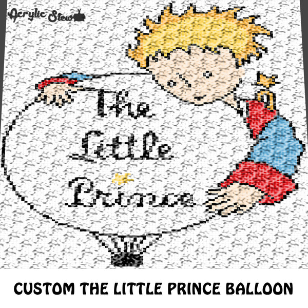 Custom The Little Prince Title and Graphic Logo Image crochet graphgan blanket pattern; c2c, cross stitch graph; pdf download; instant download