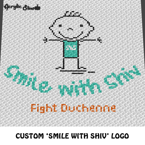 Custom Smile With Shiv Fight Duchenne Logo crochet graphgan blanket pattern; c2c, cross stitch graph; pdf download; instant download