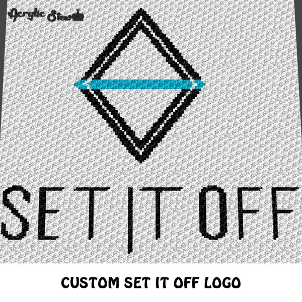 Custom Set It Off Band Logo crochet blanket pattern; c2c, cross stitch graph; instant download