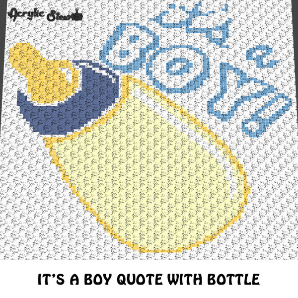 It's A Boy Baby Bottle New Baby Quote Baby Shower Gift crochet graphgan blanket pattern; c2c, cross stitch graph; pdf download; instant download