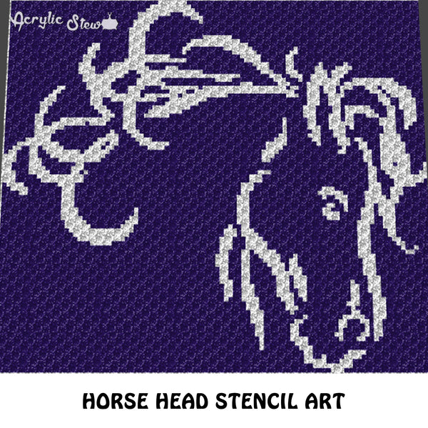 Horse Head Stencil Country Western Rodeo crochet graphgan blanket pattern; c2c, knitting, cross stitch graph; pdf download; instant download