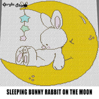 White Bunny Rabbit Sleeping on the Crescent Moon With Hanging Stars crochet graphgan blanket pattern; c2c; single crochet; cross stitch; graph; pdf download; instant download