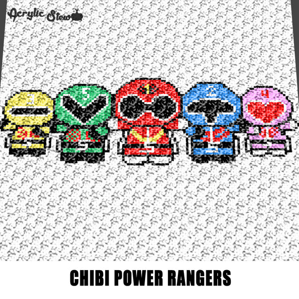 Kawaii Power Rangers Chibi Television Characters crochet graphgan blanket pattern; c2c, cross stitch graph; pdf download; instant download