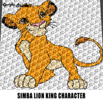 Teen Simba Disney Lion King Movie Cartoon Character crochet graphgan blanket pattern; c2c; single crochet; cross stitch; graph; pdf download; instant download