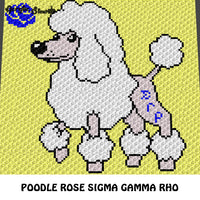Custom Sigma Gamma Rho Poodle with Royal Blue Rose crochet graphgan blanket pattern; c2c, cross stitch graph; instant download