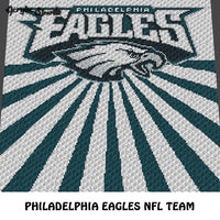 Philadelphia Eagles Pennsylvania NFL Football Team Logo Design crochet graphgan blanket pattern; c2c, cross stitch graph; pdf download; instant download