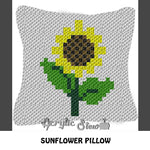 Simple Sunflower Summer Floral crochet graphgan pillow pattern; C2C pillow pattern, crochet pillow case; pdf download; instant download