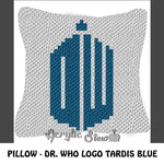 Doctor Who DW Logo crochet pillow pattern; C2C pillow pattern, crochet pillow case; pdf download; instant download