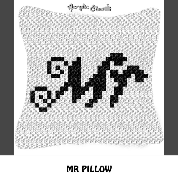 Custom Mr Script Font Wedding crochet graphgan pillow pattern; C2C pillow pattern, crochet pillow case; pdf download; instant download